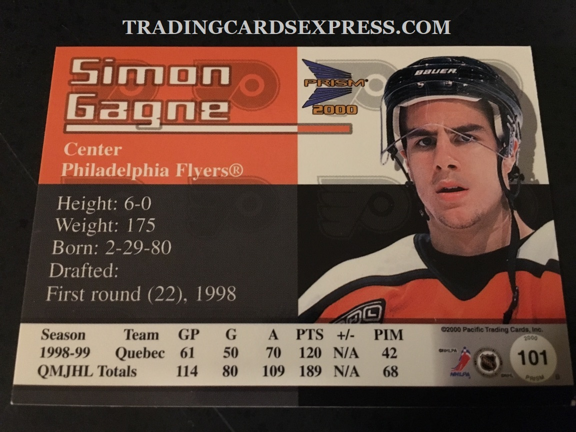 Simon Gagne Flyers 1999 2000 Pacific Prism Rookie Card 101 Back Side