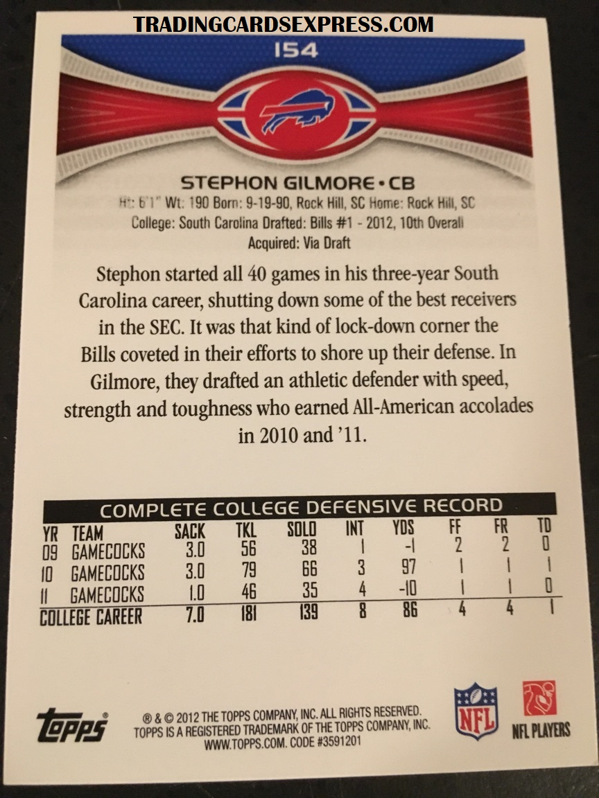 Stephon Gilmore Bills 2012 Topps Rookie Card 154 Back Side