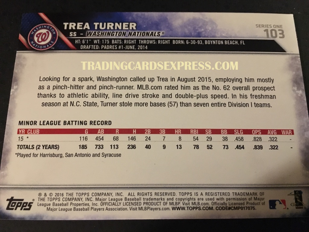 Trea Turner Nationals 2016 Topps Series 1 Rookie Card 103 Back Side