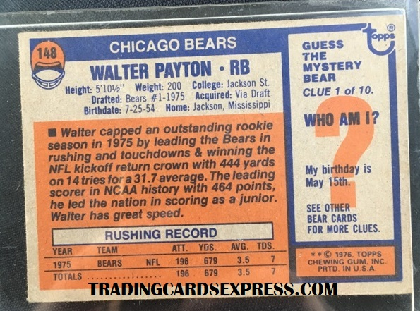 Walter Payton Bears 1976 Topps Rookie Card 148 Back Side