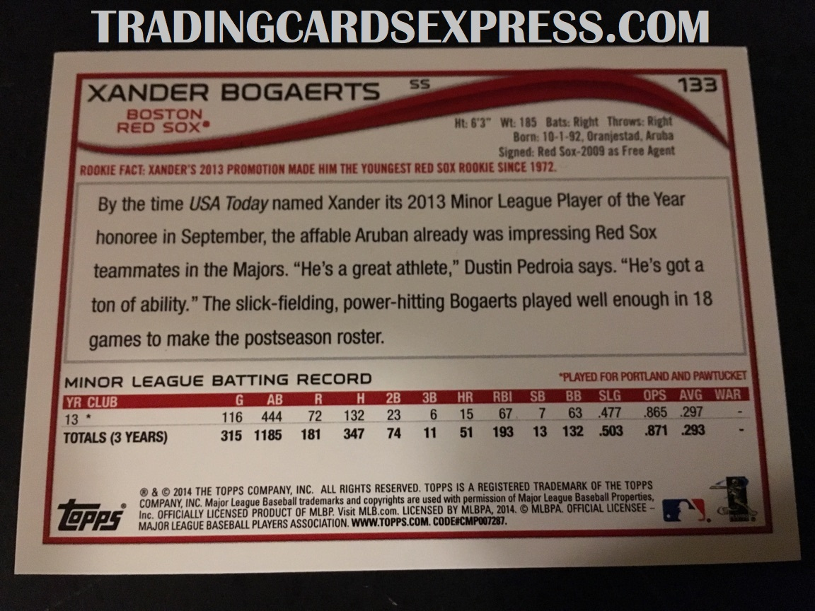 Xander Bogaerts Red Sox 2014 Topps Rookie Card 133 Back Side