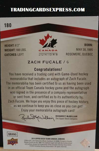 Zach Fucale Autograph Team Canada 180 Juniors Game Worn Auto Patch 2014 Upper Deck QBXNG BACK SIDE