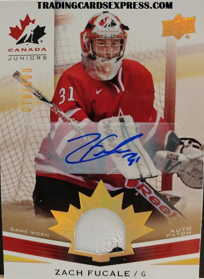 Zach Fucale Autograph Team Canada Juniors Game Worn Auto Patch 2014 Upper Deck QBXNG