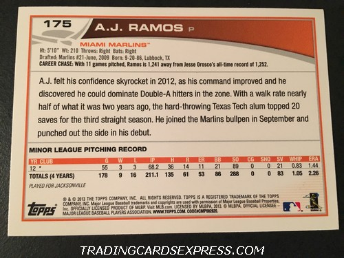 A.J. Ramos Marlins 2013 Topps Rookie Card 175 Back