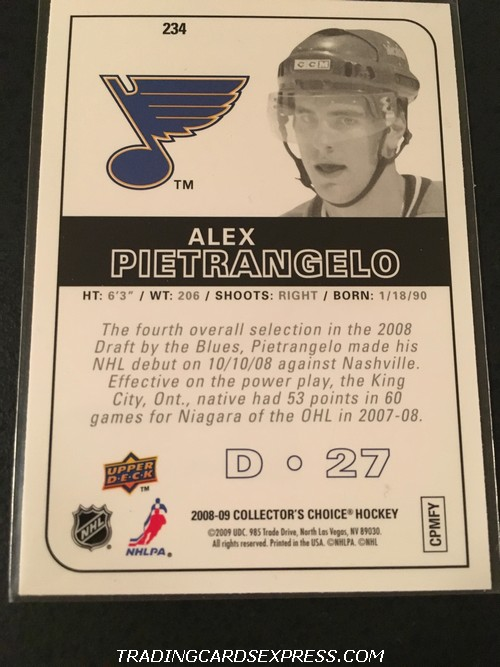 Alex Pietrangelo Blues 2008 2009 Upper Deck Collectors Choice Reserve Rookie Card 234 Back