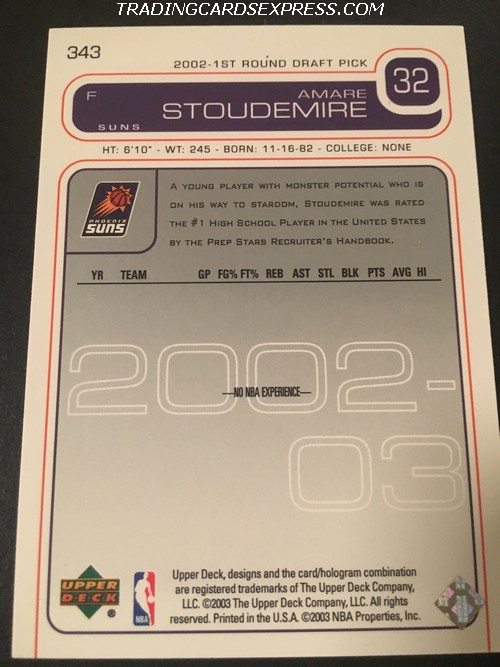 Amare Stoudemire Suns 2002 2003 Upper Deck Rookie Card 343 Back