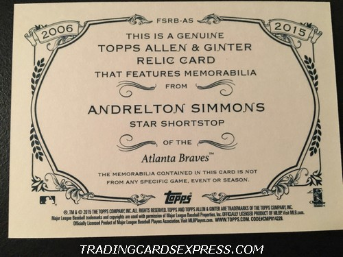 Andrelton Simmons Braves 2015 Topps Allen Ginter 10th Anniversary Jersey Card FSRBAS Back
