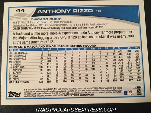 Anthony Rizzo Cubs 2013 Topps All Star Rookie 44 Back