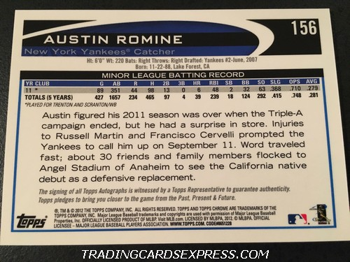 Austin Romine Yankees 2012 Topps Chrome Autograph Rookie Card 156 Back