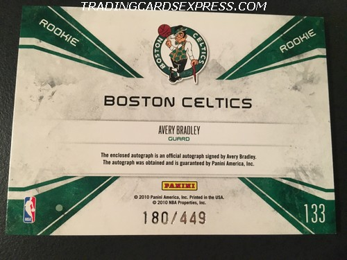 Avery Bradley Celtics 2010 2011 Panini Rookies Stars Team Patches Autograph Rookie Card 133 180 449 Back