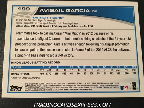 Avisail Garcia Tigers 2013 Topps Rookie Card 199 Back