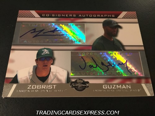 Ben Zobrist Rays Joel Guzman Rays 2007 Topps Co-Signers Autograph Card CSZG Front
