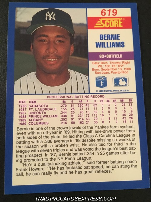 Bernie Williams Yankees 1990 Score Rookie Card 619 Back