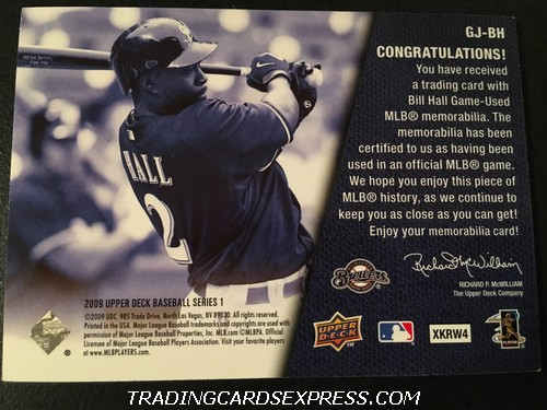Bill Hall Brewers 2009 Upper Deck Jersey Card GJBH Back