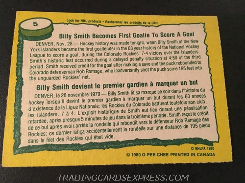 Billy Smith Islanders 1980 1981 O Pee Chee Record Breaker 5 Back