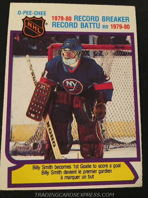 Billy Smith Islanders 1980 1981 O Pee Chee Record Breaker 5 Front