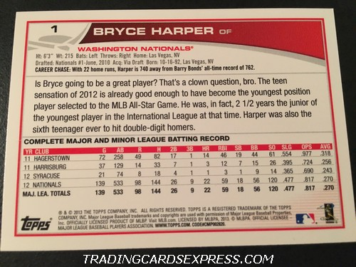 Bryce Harper Nationals 2013 Topps All Star Rookie 1 Back