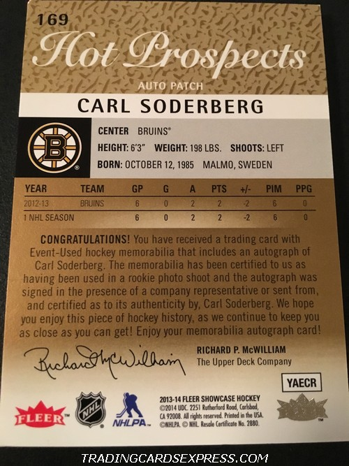 Carl Soberberg Bruins 2013 2014 Fleer Showcase Hot Prospects Autograph Patch Rookie Card 169 Back