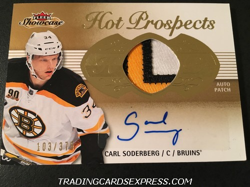 Carl Soberberg Bruins 2013 2014 Fleer Showcase Hot Prospects Autograph Patch Rookie Card 169 Front