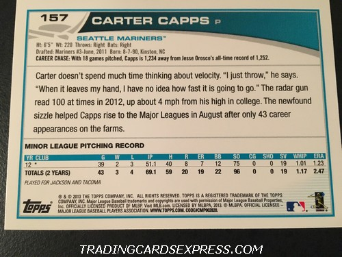 Carter Capps Mariners 2013 Topps Rookie Card 157 Back