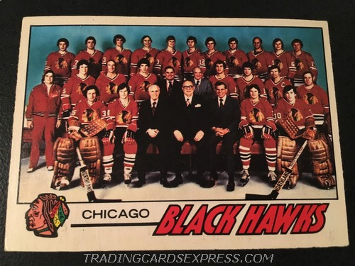 Chicago Blackhawks 1977 1978 O Pee Chee Team Checklist 74 Front