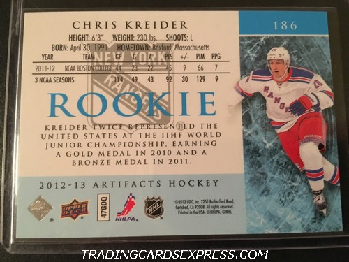 Chris Kreider Rangers 2012 2013 Artifacts Rookie Card 186 500 999 Back