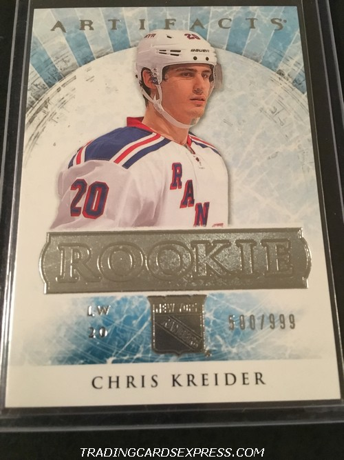 Chris Kreider Rangers 2012 2013 Artifacts Rookie Card 186 500 999 Front