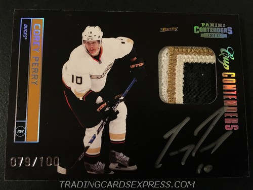 Corey Perry Ducks 2011 2012 Panini Contenders Cup Contenders Patch Autograph Card 101 079 100 Front