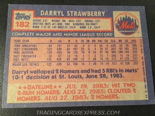 Darryl Strawberry Mets 1984 Topps Rookie Card 182 Back