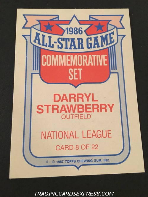 Darryl Strawberry Mets 1987 Topps All Star Game Commemorative Set 8 Back