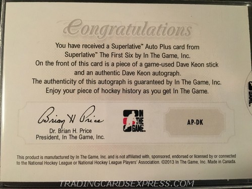 Dave Keon Maple Leafs 2013 2014 ITG Superlative The First Six Autograph Plus APDK Back