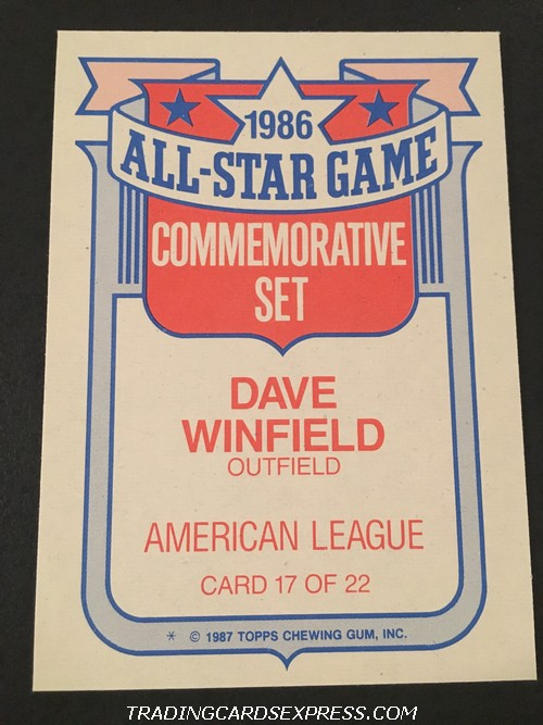 Dave Winfield Yankees 1987 Topps All Star Game Commemorative Set 17 Back