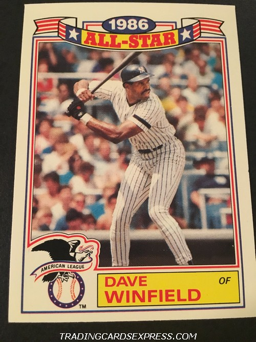 Dave Winfield Yankees 1987 Topps All Star Game Commemorative Set 17 Front