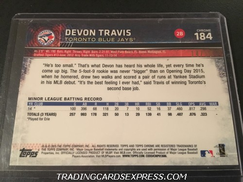Devon Travis Blue Jays 2015 Topps Chrome Gold Rookie Card 184 14 50 Back
