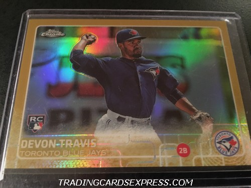 Devon Travis Blue Jays 2015 Topps Chrome Gold Rookie Card 184 14 50 Front