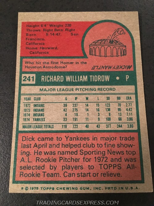 Dick Tidrow Yankees 1975 Topps Mini 241 Back