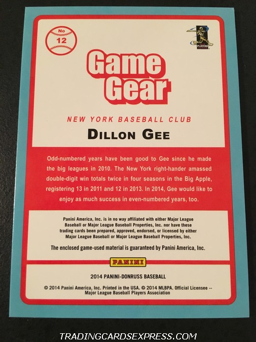 Dillon Gee Mets 2014 Panini Donruss Game Gear Jersey Card 12 Back