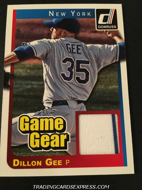 Dillon Gee Mets 2014 Panini Donruss Game Gear Jersey Card 12 Front
