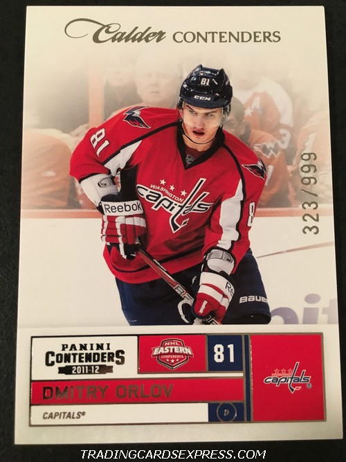 Dmitry Orlov Capitals 2011 2012 Panini Contenders Calder Contenders Rookie Card 183 Front