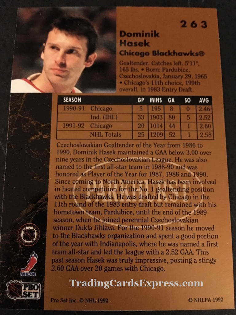 Dominik Hasek Blackhawks 1992 Pro Set Parkhurst Rookie Card 263 Back Side