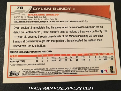Dylan Bundy Orioles 2013 Topps Rookie Card 78 Back