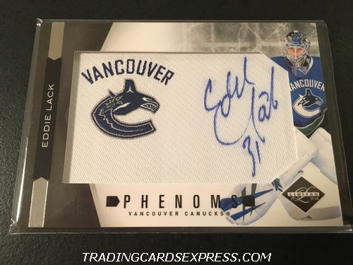 Eddie Lack Canucks 2011 2012 Panini Limited Phenoms Autograph Rookie Card 264 277 299 Front