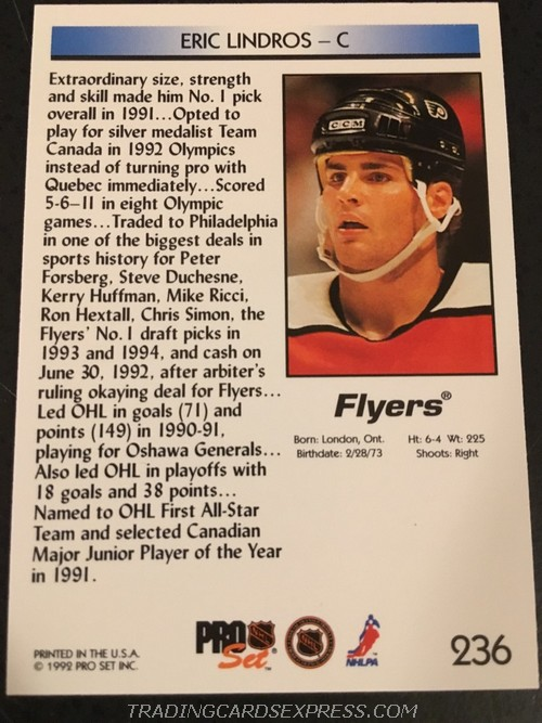 Eric Lindros Flyers 1992 199 Pro Set Rookie Card 236 Back