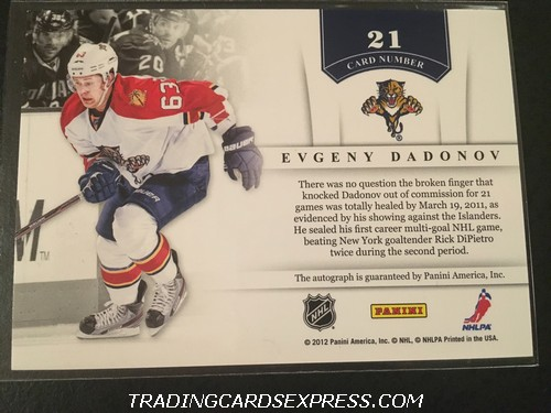 Evgeny Dadonov Panthers 2011 2012 Panini Contenders NHL Ink Autograph Card 21 Back