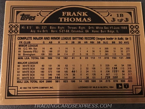 Frank Thomas White Sox 1994 Topps Finest Bronze 3 Back