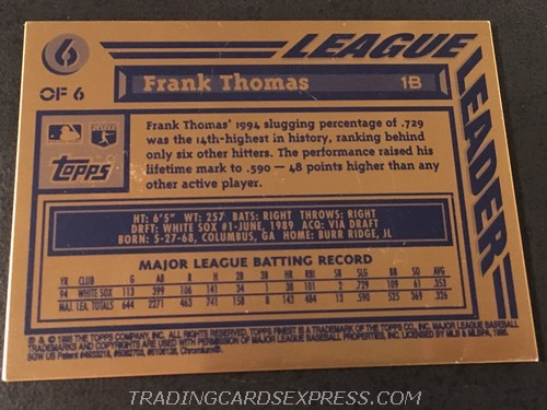 Frank Thomas White Sox 1995 Topps Finest Bronze 6 Back