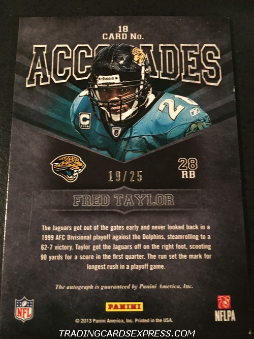 Fred Taylor Jaguars 2013 Panini Playbook Accolades Autograph Card 18 19 25 Back