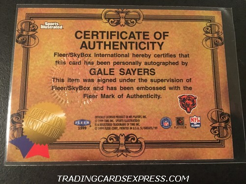 Gale Sayers Bears 1999 Fleer Sports Illustrated Greats of the Game Autograph Card Back