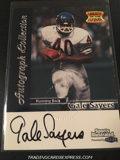 Gale Sayers Bears 1999 Fleer Sports Illustrated Greats of the Game Autograph Card Front