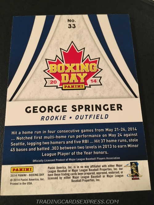 George Springer Astors 2014 Panini Boxing Day Rookie Card 33 Back